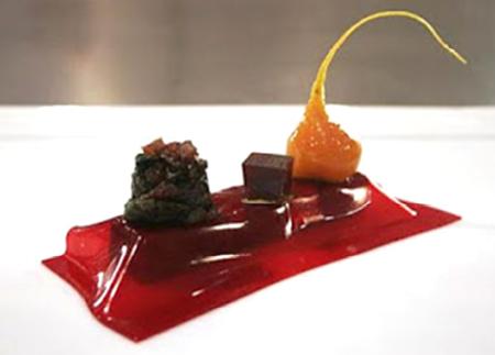 plato del curso de cocina molecular y nuevas tendencias en banquetes. Recosem, Madrid, 2015